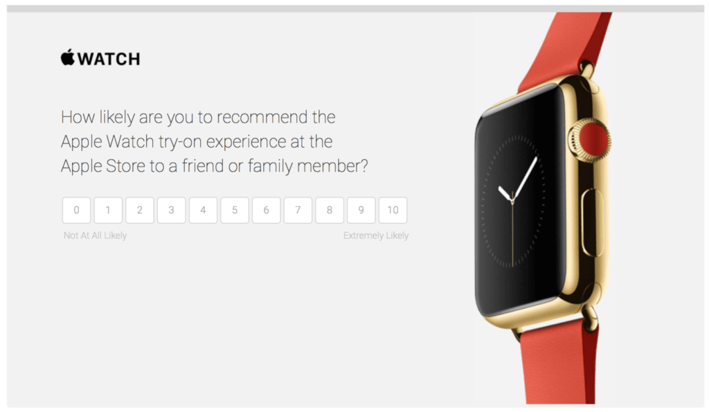 Example of Apple Watch NPS survey